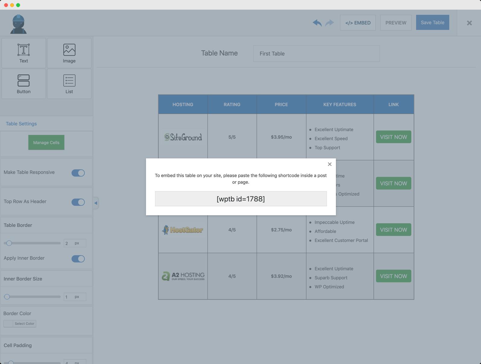 WP Table Builder中的简码。