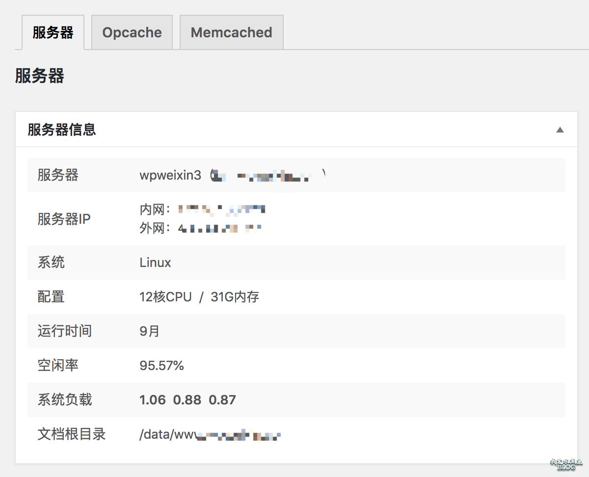 WPJAM Basic - 系统信息 - 服务器