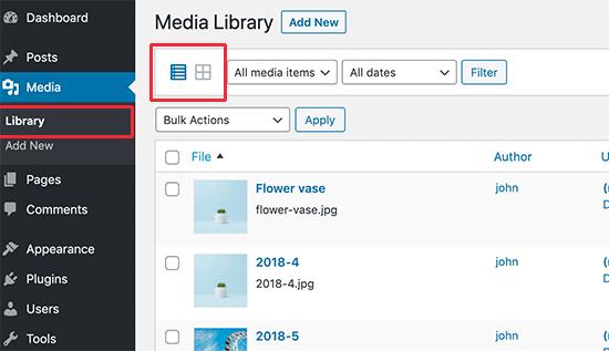 在WordPress媒体库中从网格切换到列表视图