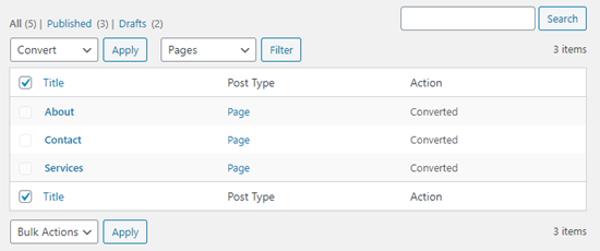 现在页面已被转换为新的块格式