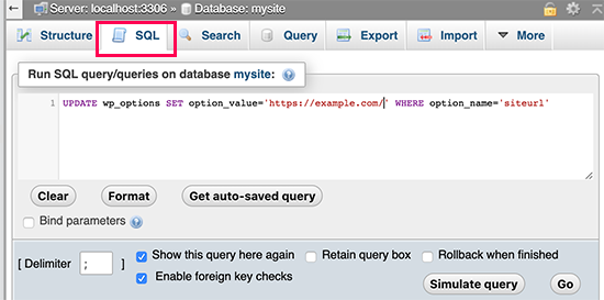 在phpMyAdmin中运行SQL